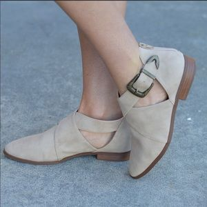 Shoes - NEW! Taupe Faux Suede Tuxedo Ankle Flat